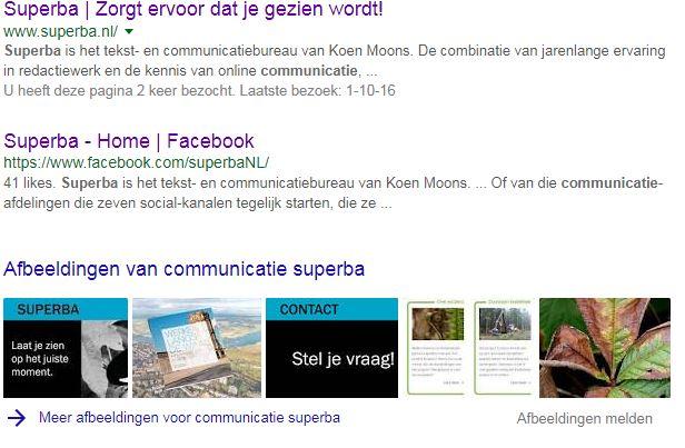 Zoekresultaat 'communicatie Superba' op Google