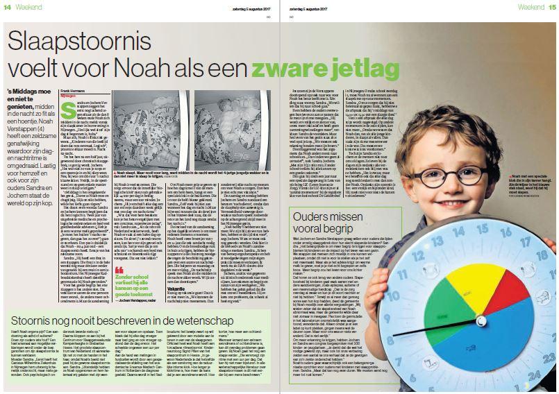 artikel Gelderlander slaapstoornis Noah